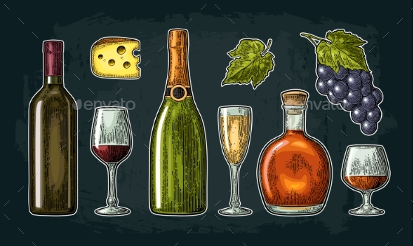Set Drinks Made From Grapes - Food Objects