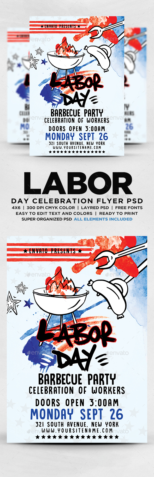 GraphicRiver Labor Day Barbecue Party Flyer 20557480