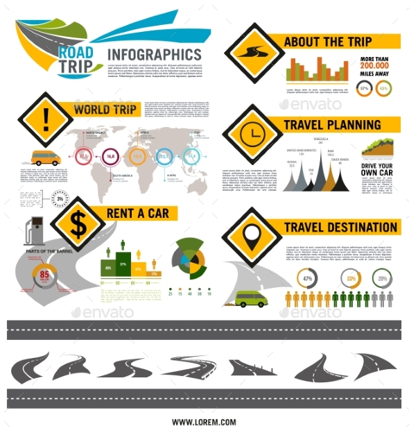 Road Trip, Travel, Car Tourism Infographic Design - Man-made Objects Objects