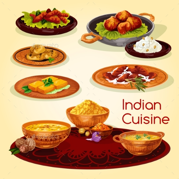 Indian Cuisine Dinner Dishes Cartoon Menu Design - Food Objects