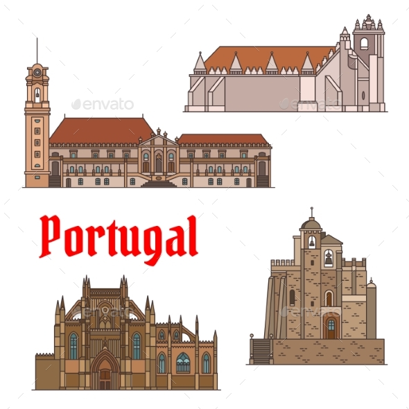 Portuguese Travel Landmarks Thin Line Icon Set - Buildings Objects