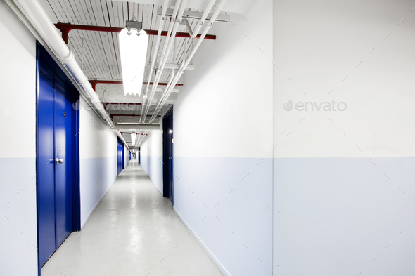 Endless Blue Corridor - Stock Photo - Images