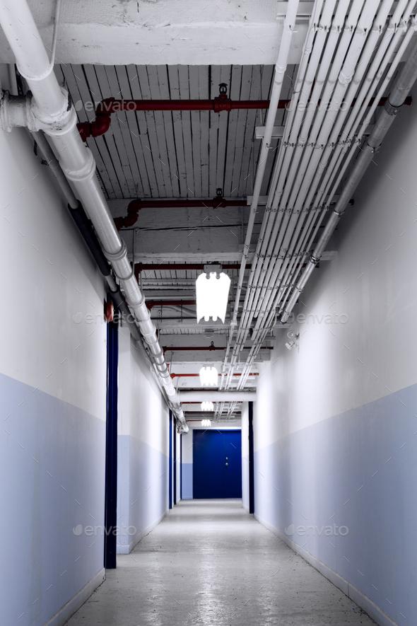 Long Blue Corridor - Stock Photo - Images