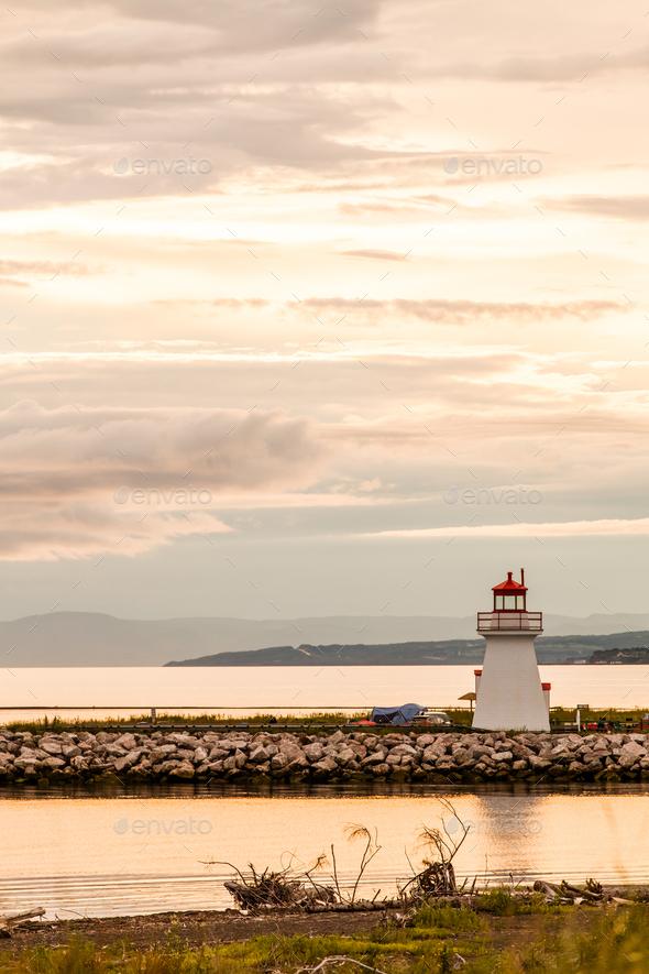 Backlit Lighthouse in Gaspe Peninsula - Stock Photo - Images