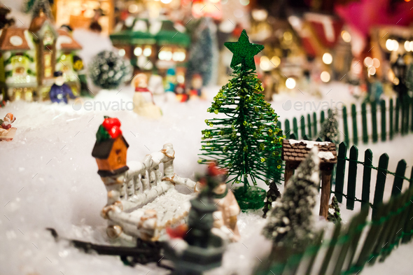 Miniature Christmas Village.Miniature Christmas Village Under Xmas Tree