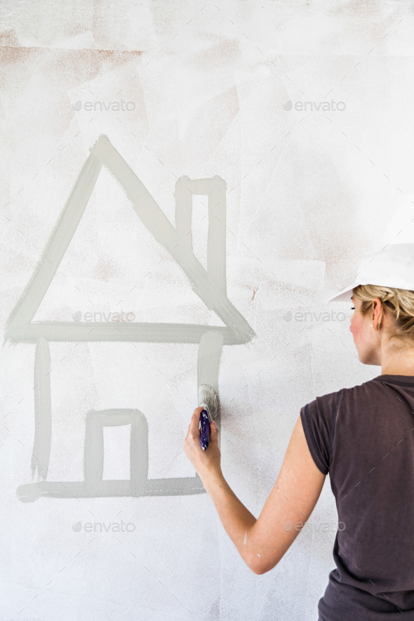 Sketch of a House on the Wall - Stock Photo - Images