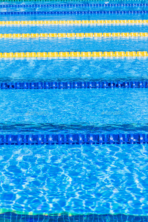 Olympic Pool Corridor Cables Floating - Stock Photo - Images