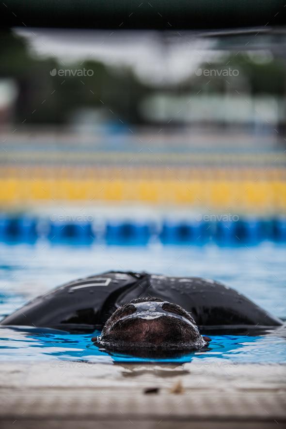 Freediving Performer doing Static Apnea - Stock Photo - Images