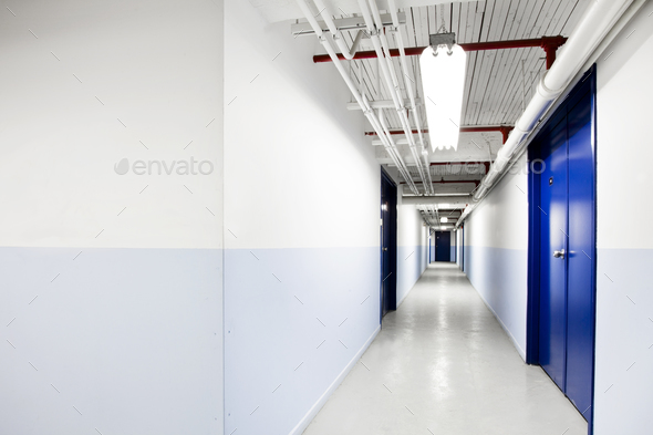 Long Blue Corridor (with room for text) - Stock Photo - Images