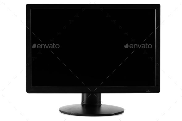 Black Screen of a Computer Screen Monitor - Stock Photo - Images