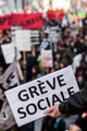 """Someone Holding a Sigh Saying """"Greve Sociale"""" (French) with Blu"""