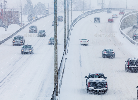 Blizzard on the Road - Stock Photo - Images