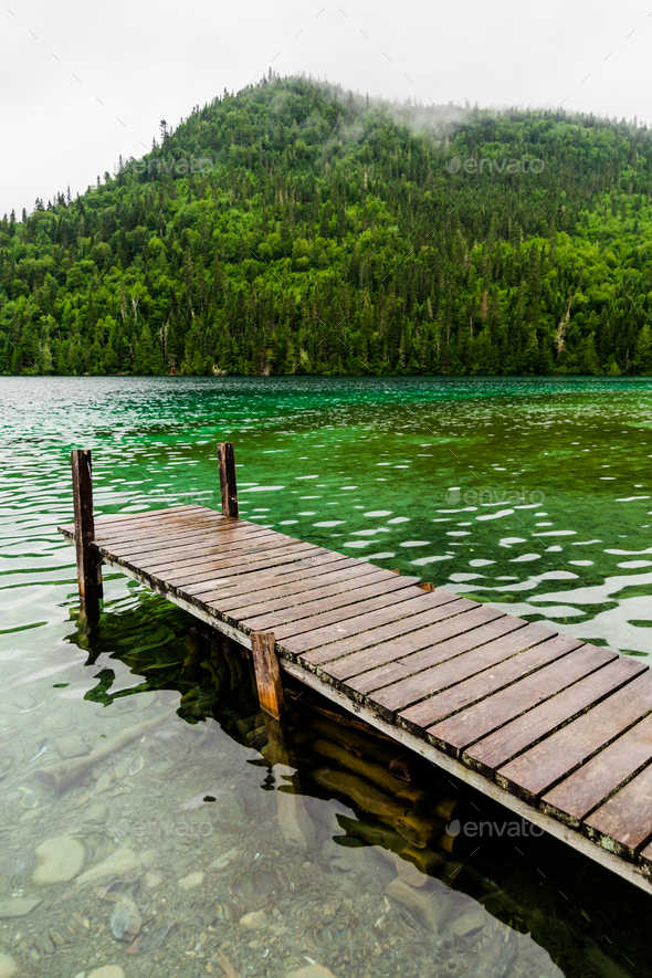 Long Dock and Amazing View of a Lake - Stock Photo - Images