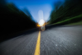 Blurry Road at Night. Drunk Driving, Speeding or Being too Tired