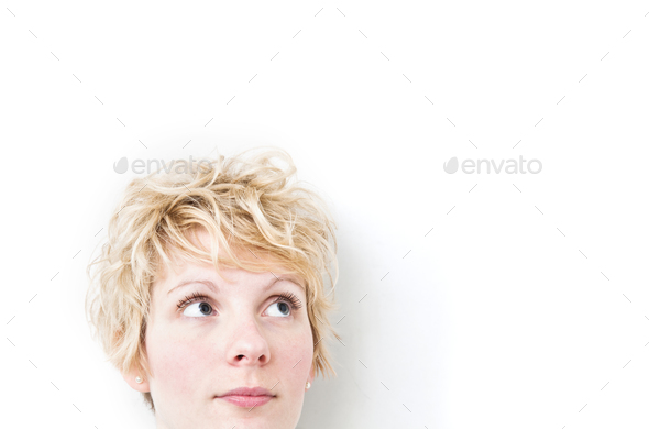 Blond Girl Looking up / Right - Stock Photo - Images