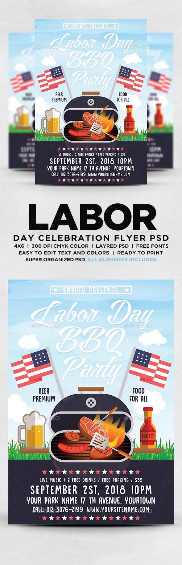 GraphicRiver Labor Day BBQ Party Flyer 20558157