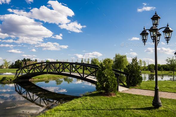 Little Bridge Over a Pond - Stock Photo - Images