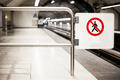 Safety Interdiction Sign (Do not Cross) on a Subway Platform - PhotoDune Item for Sale