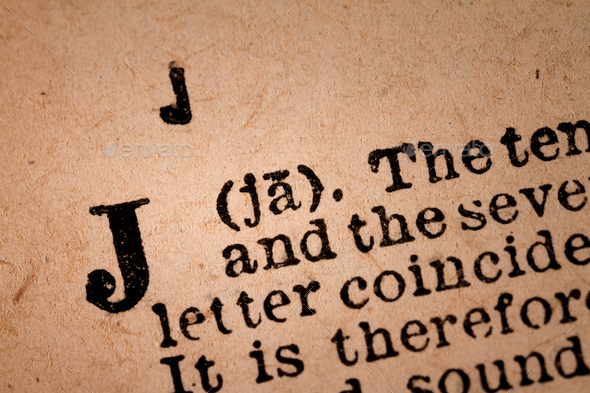 Close-up of a J, the 10th Letter of the Latin Alphabet - Stock Photo - Images