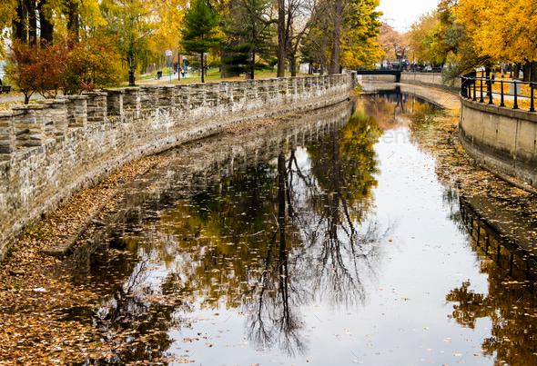 Autumn Montreal Lachine Canal Landscape - Stock Photo - Images