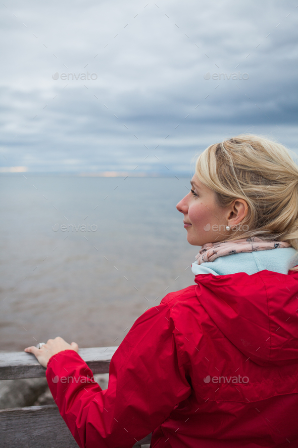 Looking at the Ocean on a cold Autumn Cloudy Day - Stock Photo - Images