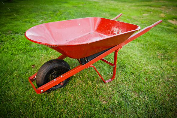 Red trolley on the lawn - Stock Photo - Images