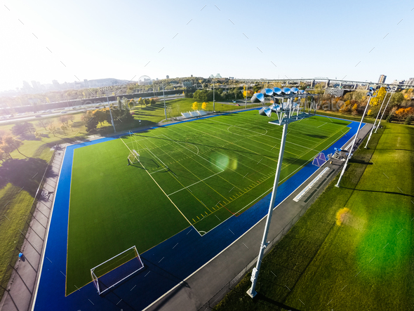 Aerial View of Outdoor Football Field - Stock Photo - Images