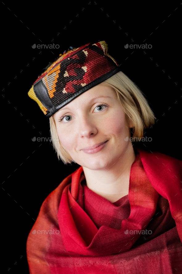 Woman posing with a wool - Stock Photo - Images