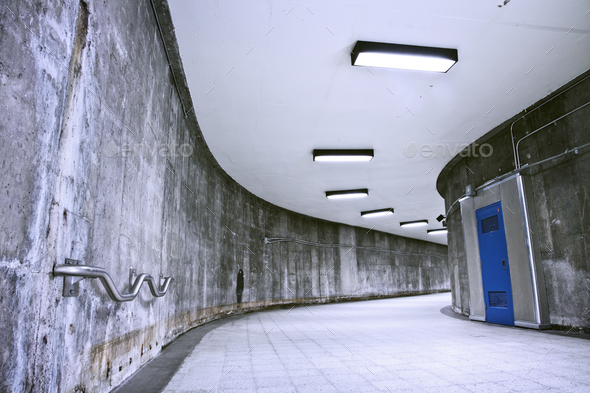 Underground Grunge metro corridor - no people - Stock Photo - Images