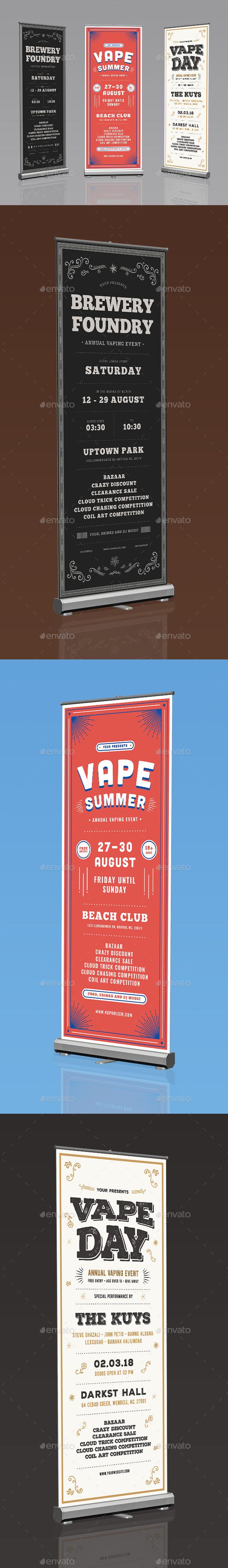 GraphicRiver Vape Event Bundle Roll Up Banner 20558239