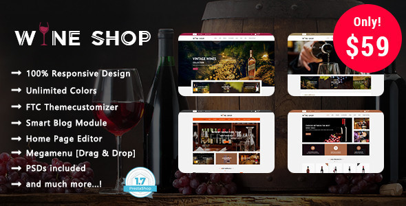 Wine Shop - Winery Responsive Prestashop 1.7 Theme