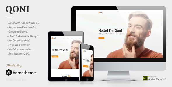 ThemeForest QONI Personal Muse Template 20558673