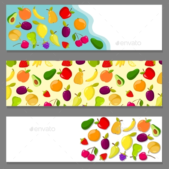 GraphicRiver Set of Horizontal Banners with Fruits 20560735
