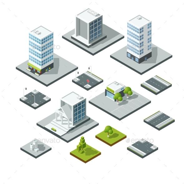 Set of Isometric City Landscape Design Elements - Objects Vectors