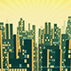 Aerial View of City Silhouette Skyscrapers in the Background of the Shining Sky - VideoHive Item for Sale