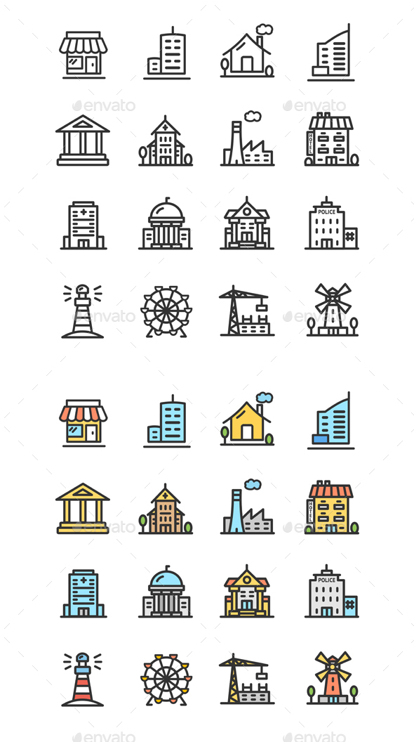 Building House or Home Color Thin Line Icon Set. Vector - Buildings Objects