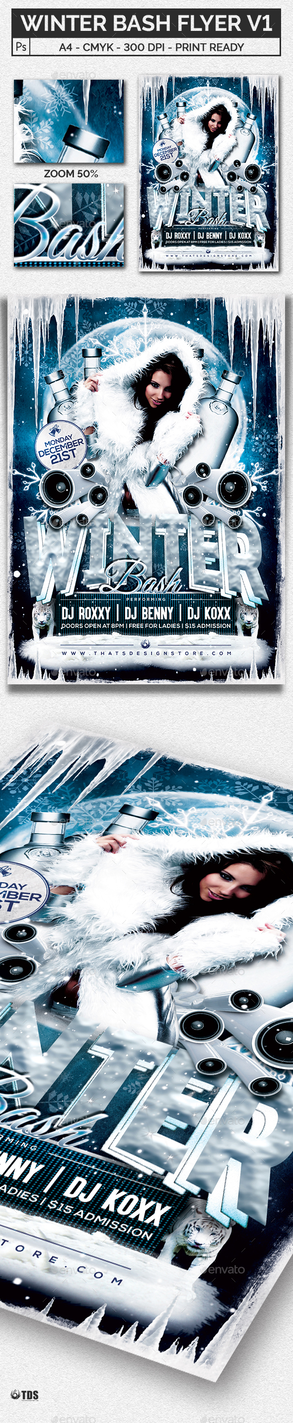 Winter Bash Flyer Template V1 - Clubs & Parties Events