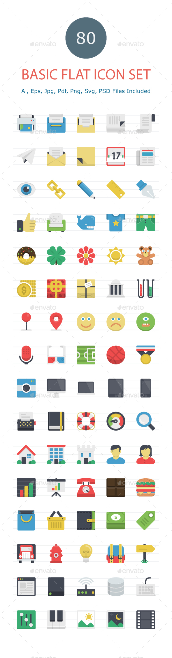 GraphicRiver Basic Flat Icons 20561173