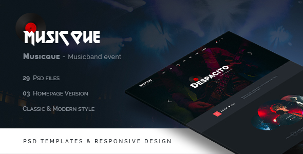 ThemeForest Musicque Music Band Event PSD Template 20561817