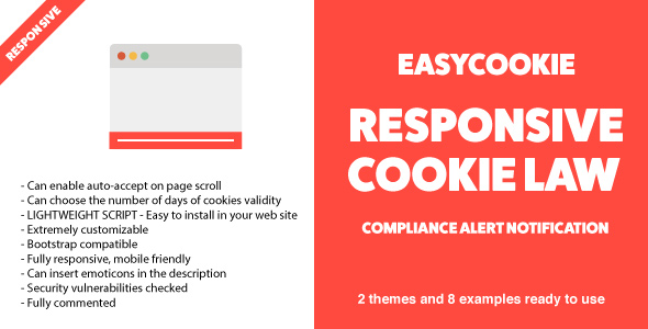 EasyCookie - Responsive Cookie Law Compliance Alert Notification