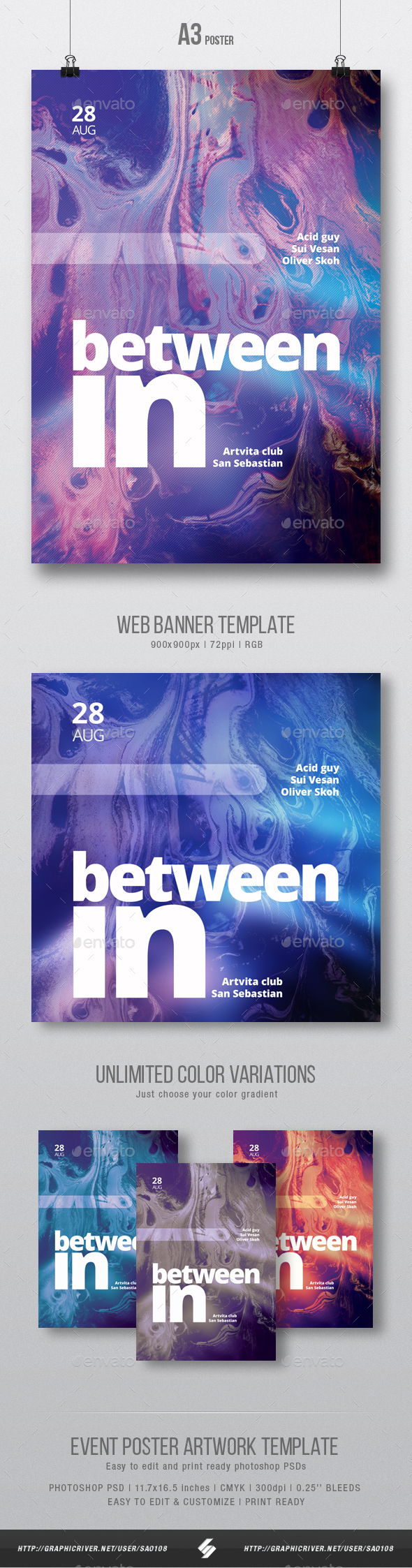 In between - Abstract Event Poster / Flyer Artwork Template A3 - Events Flyers