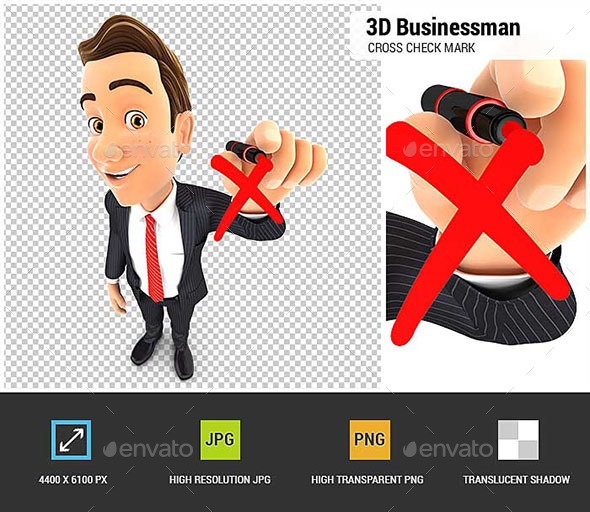 3D Businessman Drawing Red Cross Check Mark - Characters 3D Renders