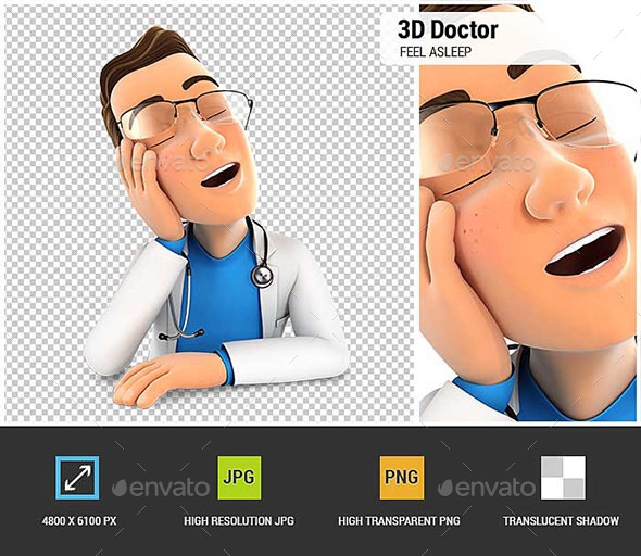 3D Doctor Fell Asleep Leaning on his Hand - Characters 3D Renders