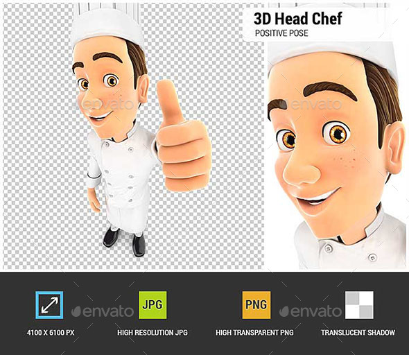 GraphicRiver 3D Head Chef Positive Pose with Thumb Up 20562129