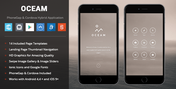 Oceam | PhoneGap & Cordova Mobile App - CodeCanyon Item for Sale