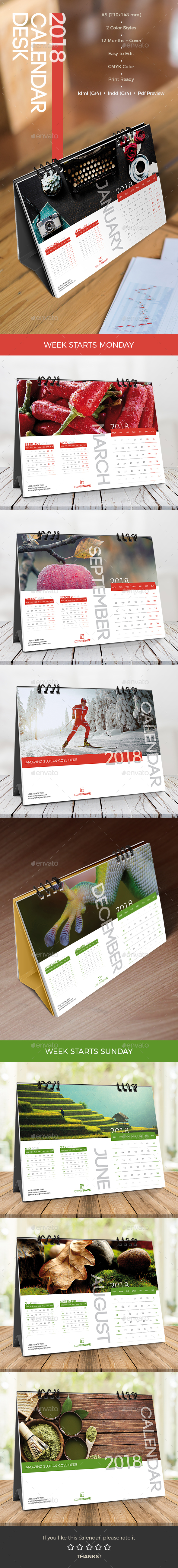 GraphicRiver Desk Calendar 2018 20562622
