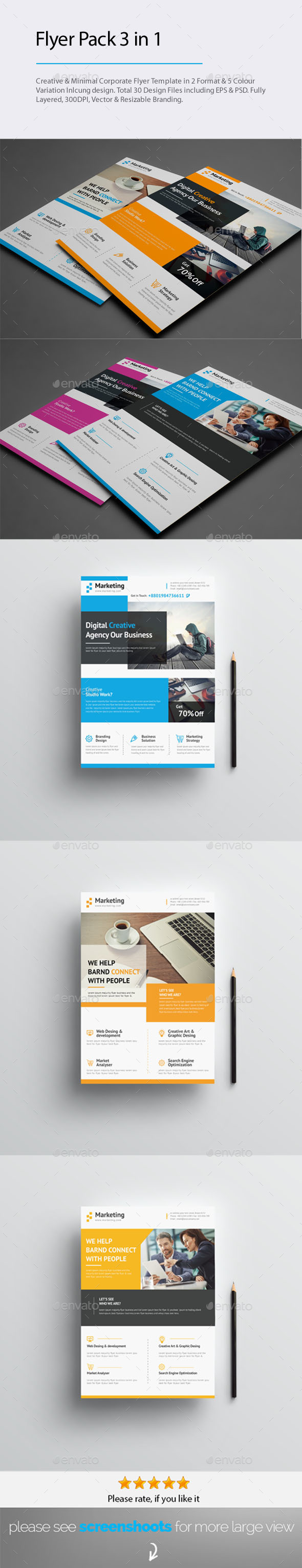 GraphicRiver 3 in 1 Flyer Pack Bundle 20562658