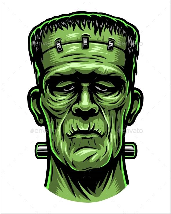 Color Illustration of Frankenstein Head - Seasons/Holidays Conceptual