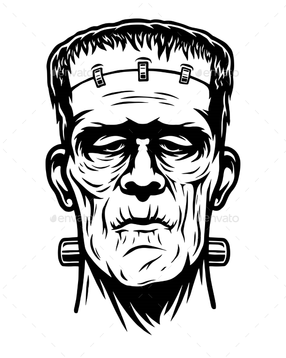 Monochrome Illustration of Frankenstein Head - Halloween Seasons/Holidays
