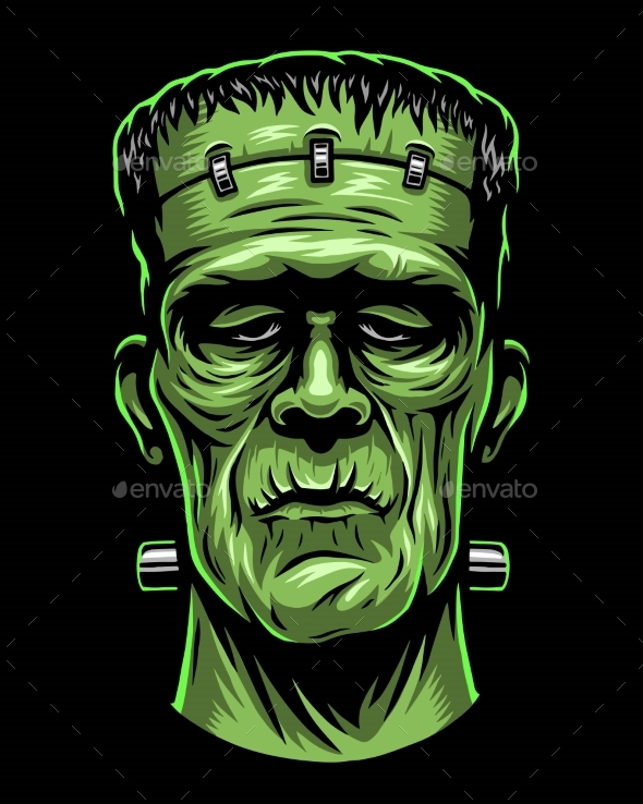 Color Illustration of Frankenstein Head - Seasons/Holidays Conceptual